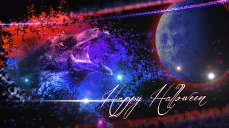 Particle Raven Happy Halloween 4k Loop features an image of a raven and moon pulled into screen in blue and red particles with a Happy Halloween message
