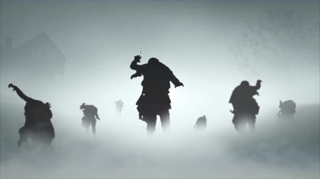 особенности : Zombie Apocalypse Deserted Town 4K features zombies walking forward in a roiling fog with a deserted house, dead tree, and circling raven silhouettes in the background