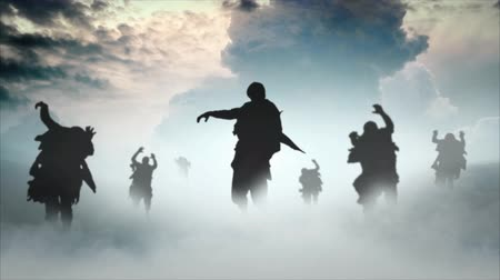 sírkő : Zombie Apocalypse Mushroom Cloud 4K features zombie silhouettes walking forward in a roiling fog with a nuclear explosion in the background