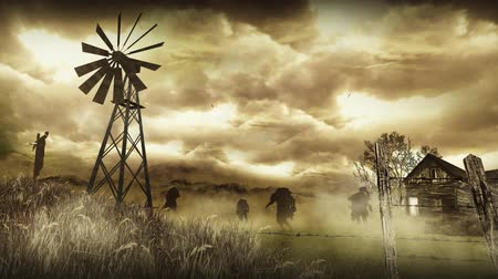 sepya : Zombies Down on the Farm 4K features zombie silhouettes walking toward the viewer in a foggy wheat field with a barbed wire fence, old windmill, and scarecrow in the scene Stok Video
