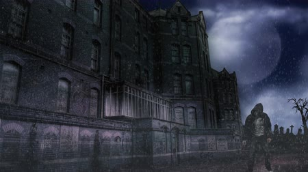 gravestone : Abandoned Building in a Storm with Zombie 4K feature an old abandoned building in a rainstorm with a full moon and rolling dark clouds in the background and a zombie figure slowly walking forward through the rain.