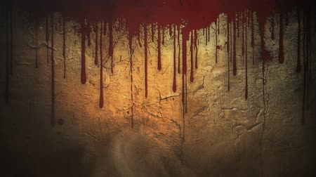 primordial : Blood Running Down Old Wall 4K Background features red blood-like liquid spattering and running down a grungy old wall with dust particle in the air