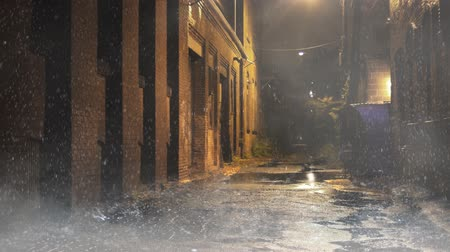 grim : Dark Alleyway in a Storm 4K Stock Footage