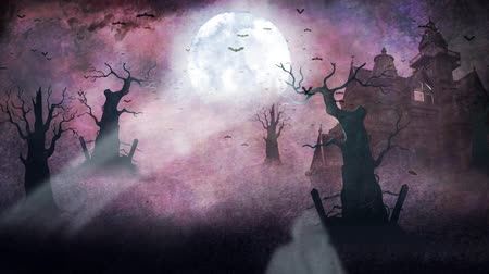 perili : Ghostly Forest Haunted Mansion 4K Loop features a haunted forest and mansion scene with bats and ghosts flying with a watercolor background in a loop