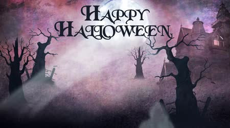 animati : Ghostly Forest Haunted Mansion Happy Halloween 4K presenta una foresta stregata e una scena di palazzo con fantasmi che volano rivelando il testo di Happy Halloween con uno sfondo ad acquerello Filmati Stock