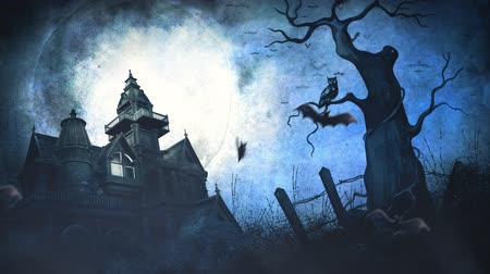 dia das bruxas : Halloween Full Moon Haunted Mansion Background 4K Loop features a full moon in a grunge sky with an old haunted mansion, dead tree with an owl, and bats flying in a loop Stock Footage