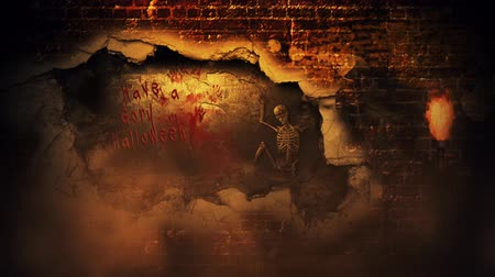 особенности : Gory Halloween Brick Wall Skeleton 4K Loop features the shadow of the grim reaper on a brick wall with fire and smoke in the atmosphere and the wall exploding to Have a gory Halloween and a skeleton chained to a wall