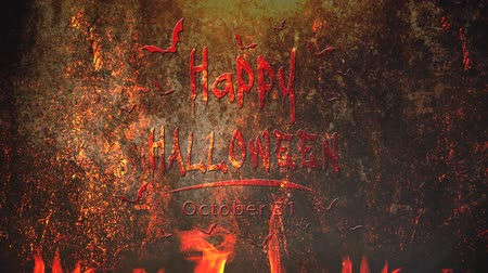 Happy Halloween Animated Title in Fire 4K Loop features an old wall with flames licking upward and animated text and bats writing out Happy Halloween.
