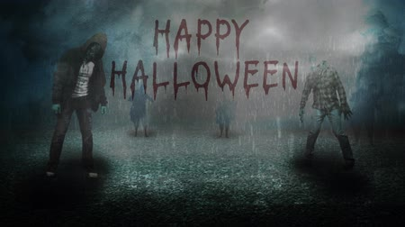 Happy Halloween Stormy Night with Zombies 4K presenta zombis animados que se destacan bajo la lluvia sobre el asfalto en un ambiente brumoso con una mano escrita Happy Halloween que aparece. Archivo de Video