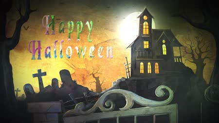 Haunted Mansion Happy Halloween Watercolour 4K Loop presenta una mansión embrujada con un cementerio y una puerta giratoria con una acuarela animada Happy Halloween en un bucle