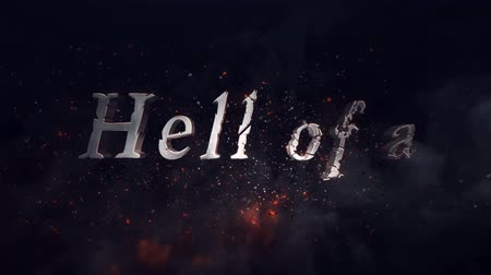 Have a Hell of a Halloween Fire and Smoke 4K Loop features 3d text flying on screen and slightly disintegrating in an atmosphere of fire and smoke in a loop