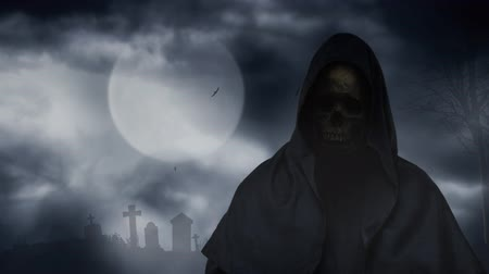 Reaper Figure Graveyard Full Moon 4K Loop features a hooded figure with skull face and a full moon with moving clouds in the background and birds circling over a silhouetted graveyard.