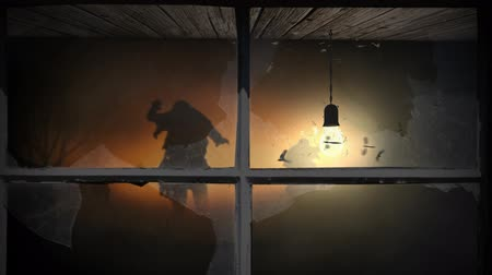надгробие : Approaching Zombies at Dusk Window View 4K features the viewer looking through a window with broken glass, past a swinging light bulb to see zombie silhouettes walking at dusk