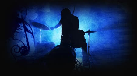 hegedűművész : Drummer Blue Silhouette Music Notes 4K features the silhouette of a rock drummer jamming with a blue grunge atmosphere with various music symbols animate in and out of frame