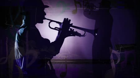 ilerici : Dueling Horns Silhouette Music Notes 4K features of a close up silhouette of a man playing a trumpet with animated music notes and a another full body horn player silhouette in the background