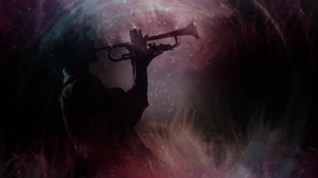 podsvícení : Feathery Jazz Silhouette 4K features a Jazz musician playing a horn with a spot backlighting and feathers waving on the bottom and top of the screen