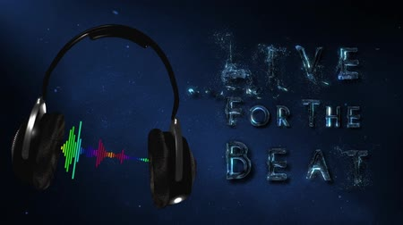morph : Headphones Live for the Beat 4K Loop features a pair of headphones flying onto the screen with a colorful audio wave playing between the phones with the words Live for the Beat animating on in liquid form.