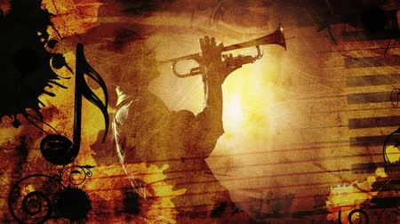 saxofone : Jazz Earth Tones Silhouette with Music Notes 4K features a scene with a grunge feel and music with earth tone colors theme with various music symbols animating in and out of frame with an almost silhouette of a man playing a horn instrument in the center