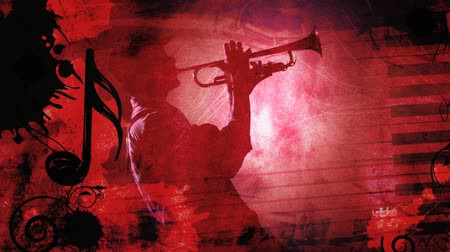 saxofon : Jazz Red Silhouette with Music Notes 4K features a scene with a red grunge feel and music theme with various music symbols animating in and out of frame with an almost silhouette of a man playing a horn instrument in the center