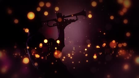 podsvícení : Jazzy Light Sparkles in Purple 4K features a Jazz musician playing a horn with a spot backlighting and sparkles of lights bouncing all around Dostupné videozáznamy