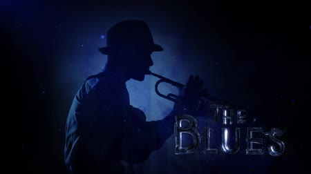 podsvícení : Liquid Blues with Water text 4K features a Jazz musician playing a horn with a spot backlighting and sparkles with liquid text animating on screen that says The Blues Dostupné videozáznamy