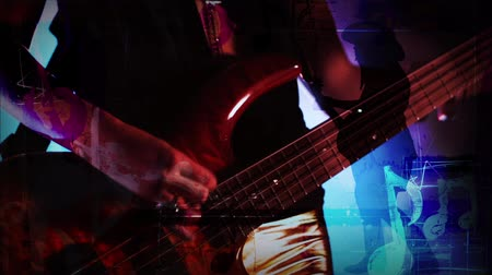 pojedynek : Music Girl Dueling Silhouettes 4K features of a close up silhouette of a woman playing an electric bass guitar with animated music notes and a another full body female guitar player silhouette in the background
