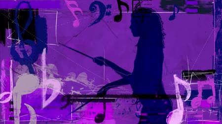 sassofono : Purple Drummer Girl with Music Notes 4K features the silhouette of a woman standing and playing the drums in a purple grunge atmosphere with music elements and symbols animating in and out of the scene Filmati Stock