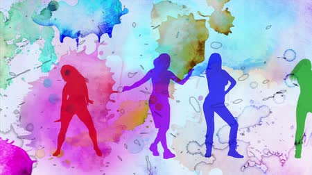 kalça : Watercolor Dance Silhouettes 4K features dancing female silhouettes with animated watercolor splashing in the background