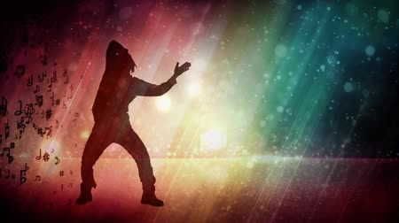 kytara : Male Dancer Silhouette with Glitter Rainbow Background 4K features the silhouette of a male dancer with a glittering rainbow colored background with flowing lights and music notes