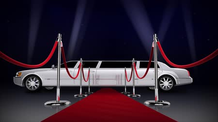 limuzína : Red Carpet Hollywood Nights 4K Loop features a red carpet with side sashes leading the viewer to a waiting whit limousine with animated searchlights against a dark blue starry night sky in a loop Dostupné videozáznamy