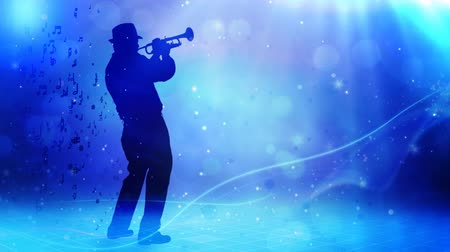 pankáč : Jazz Horn Player Glitter Notes 4K features the silhouette of a man playing a horn with music notes flowing out from him in an animated atmosphere with lights glitter and abstract shapes in a loop