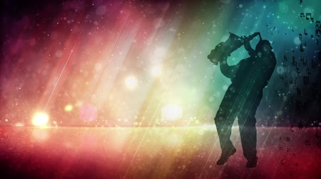 saxofone : Saxophone Playing Male Silhouette with Glitter Rainbow Background 4K features the silhouette of a male playing a saxophone with a glittering rainbow colored background with flowing lights and music notes Vídeos