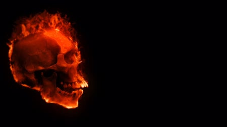 puin : Flaming Skull with Sparks Background 4K Loop features a side profile view of a laughing flaming skull moving around with sparks rising against a black background