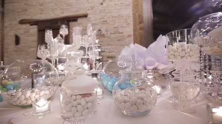 wedding cake : delicious Candy bar at a wedding Stock Footage