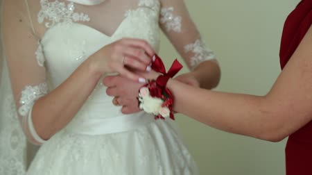 hedvábí : Bridesmaid is helping the bride to dress Dostupné videozáznamy