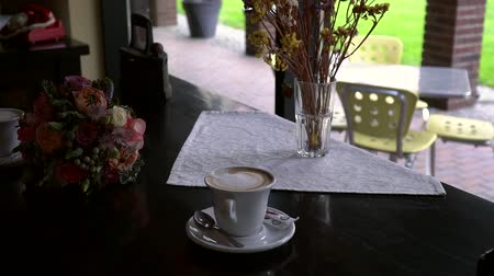 caffe : Romantic coffee at a cafe table Stock Footage