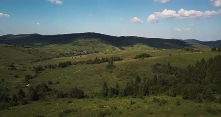 calming : Aerial, Carpathians mountains. Blue Ukrainian sky with rain clouds Stock Footage