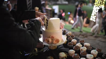 obrus : guests at the candy bar at the wedding cut the cake