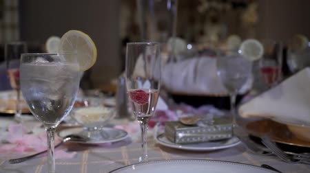 serving exquisite wedding table Stock mozgókép
