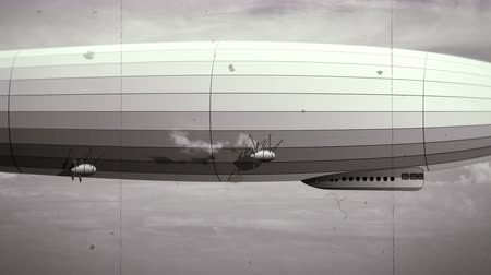 stylization : Legendary zeppelin airship on sky with clouds. Black and white retro stylization, old film. Flying balloon animation. Big dirigible, spinning propellers and rudder. Long zeppelin, rigid airship. Stock Footage