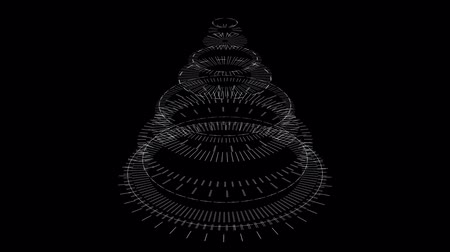 stylization : Stylized Christmas tree on a black background, composed of mechanical spiral wheels. Background for christmas video wishes, shining rays. Graphic abstract sci-fi stylization of Christmas symbol.