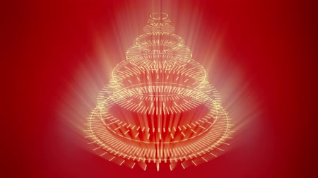 stylization : Stylized bizarre Christmas tree with red background. Background for video wishes, shining rays. Graphic abstract sci-fi stylization of Christmas symbol.