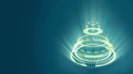 stylization : Stylized bizarre Christmas tree with blue background. Background for video wishes, shining rays. Graphic abstract sci-fi stylization of Christmas symbol.