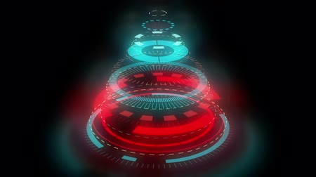 estilização : Stylized Christmas tree on a black background, composed of mechanical spiral wheels. Background for christmas video wishes, shining rays. Graphic abstract sci-fi stylization of Christmas symbol.