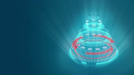 estilização : Stylized bizarre Christmas tree with blue background. Background for video wishes, shining rays. Graphic abstract sci-fi stylization of Christmas animation.