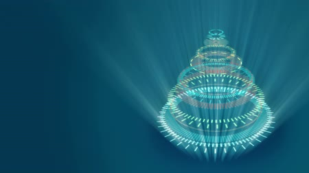 stylization : Stylized bizarre Christmas tree with blue background. Background for video wishes, shining rays. Graphic abstract sci-fi stylization of Christmas animation.