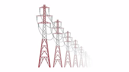 powerplant : High voltage pylons on a white background in a row. Isolated column of metal poles voltage. Surface industrial illustration. Power line pylons, graphic animation with key, mate, mask.