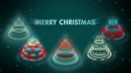 estilização : Stylized bizarre Christmas trees background with multicolored mechanical spiral wheels. Animated text Merry Christmas, falling snowflakes. Graphic sci-fi stylization of Christmas animation.