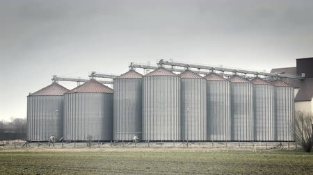 Grain metal silo building in landscape, large tin seed lift. Footage of agriculture countryside, farming, farming in plain, flat land.