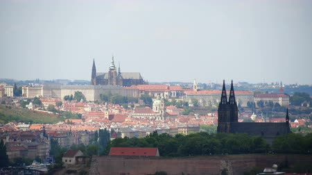 Prague Castle in Prague, capital of Czech Republic. Cathedral of St. Vitus, Vysehrad with walls. Overview of Old Town Stok Video